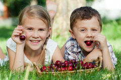 Happy little children lying near the tree with a basket of cherr Royalty Free Stock Photos