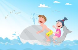 Happy little children riding whale Stock Image
