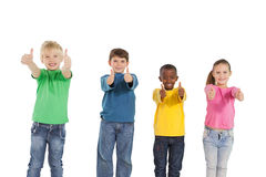 Happy little children showing thumbs up Stock Photo