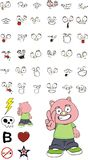 Happy little chubby pig cartoon expressions set Royalty Free Stock Photos
