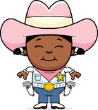 Happy Little Cowgirl. A cartoon illustration of a young cowgirl standing and smiling Stock Images