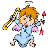 Happy little cupid cartoon vector Stock Photo