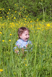 Happy little cute baby sits among on green grass Stock Photos