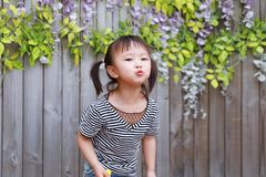 Happy little cute lovely baby girl Chinese child smile laugh have fun at summer park nature happiness childhood kiss camera lens. Asian Chinese little cut lovely stock photo