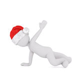 Happy little 3d man dancing or exercising. Leaning over to the side in a bright colorful red Santa hat for Christmas,rendered illustration on white Royalty Free Stock Image