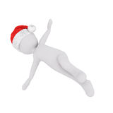 Happy little 3d man dancing or exercising. Leaning over to the side in a bright colorful red Santa hat for Christmas,rendered illustration on white Royalty Free Stock Photo