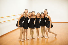 Happy little dancers in a ballet class royalty free stock images