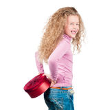 Happy little daughter with present. Stock Image