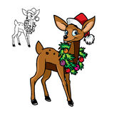 happy little deer with Christmas garland Royalty Free Stock Photo