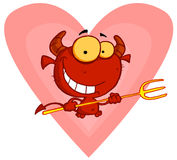 Happy little devil with pitchfork Royalty Free Stock Image