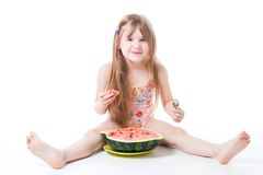 Happy little eat watermelon Stock Image