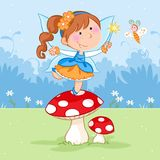 Happy little fairy dancing on the red mushroom and lovely butterfly stock illustration