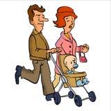 Happy little family cartoon Royalty Free Stock Image