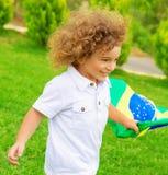 Happy little football fan Royalty Free Stock Images