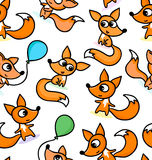 Happy little foxes on seamless pattern background Stock Photo
