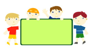 Happy little friends. Cute kids standing on the background stock illustration