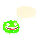 Happy little furball monster with speech bubble Royalty Free Stock Image