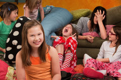 Happy Little Girl. With friends at a sleepover Royalty Free Stock Photography