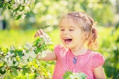 Happy little girl in apple tree garden Royalty Free Stock Image