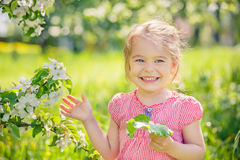 Happy little girl in apple tree garden Royalty Free Stock Images