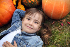 Happy little girl in the autumn Stock Photo