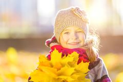 Happy little girl with autumn leaves. In the park Stock Photos