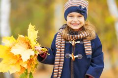 Happy little girl with autumn leaves. In the park Stock Photography