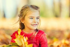 Happy little girl with autumn leaves. In the park Stock Image