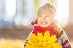 Happy little girl with autumn leaves Stock Image