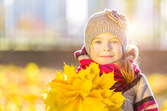 Happy little girl with autumn leaves. In the park Royalty Free Stock Photo