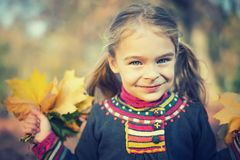 Happy little girl with autumn leaves. Portrait of happy little girl with autumn leaves in the park Stock Photo