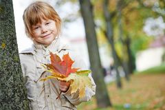 Happy little girl in autumn Stock Photography