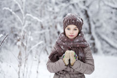 Happy little girl on the background of a winter park Royalty Free Stock Photo