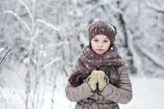 Happy little girl on the background of a winter park Royalty Free Stock Photos