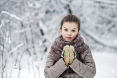 Happy little girl on the background of a winter park Stock Photography