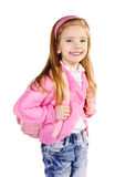 Happy little girl with backpack isolated on white Royalty Free Stock Images