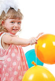 Happy Little Girl With Balloons Stock Image