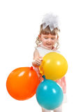 Happy Little Girl With Balloons Royalty Free Stock Photo