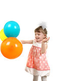 Happy Little Girl with Balloons Stock Photo