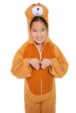 Happy little girl in bear costume Stock Image