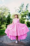 Pink long dress stock photos