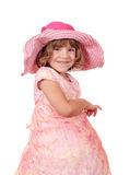 Little girl with big hat portrait Stock Image