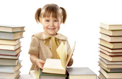 Happy little girl with books, back to school Royalty Free Stock Image