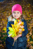 Happy little girl with bouquet of maple leaves in autumn park Stock Photos