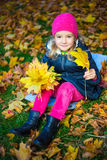 Happy little girl with bouquet of maple leaves in autumn park Stock Photography