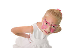 Happy little girl in butterfly face paint Stock Photos
