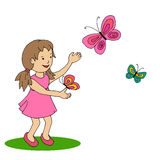 Happy little girl with butterfly Royalty Free Stock Photo