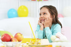 Happy  little girl  with cake Stock Images