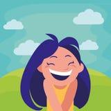 Happy little girl in the camp. Vector illustration design stock illustration