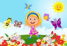 Happy little girl cartoon running on flower field. Illustration of Happy little girl cartoon running on flower field stock illustration